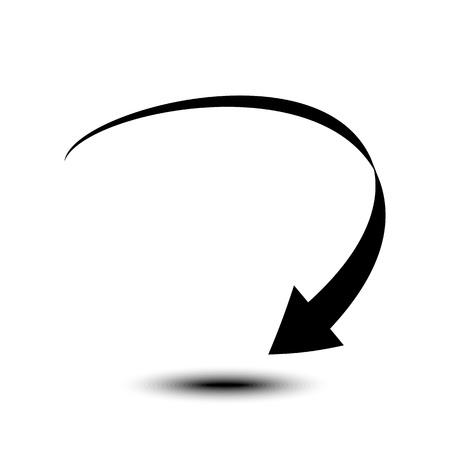 白い背景に分離された曲線矢印アイコン、ベクトルのイラスト