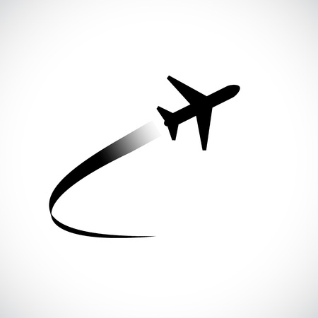 Airplane flying icon isolated on white background, vector illustration Vectores