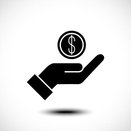 Hand holding coin icon. Vector illustration Standard-Bild - 117625190