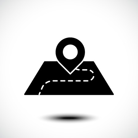 Location vector icon. Pin on the map. Pictogram isolated on white. Vector illustration