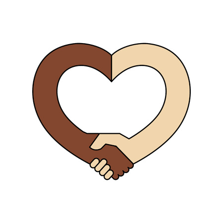 Handshake in the form of heart. Handshake sympathy, love and friendship concept, vector illustration Ilustração