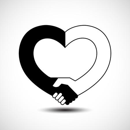 Handshake in the form of heart. Handshake sympathy, love and friendship concept, vector illustration Ilustração