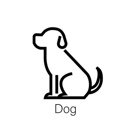 Dog line icon, linear concept sign or logo element. Vector illustration