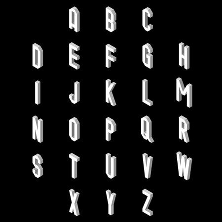 3D flat style font. Set of alphabet letters. Vector illustration