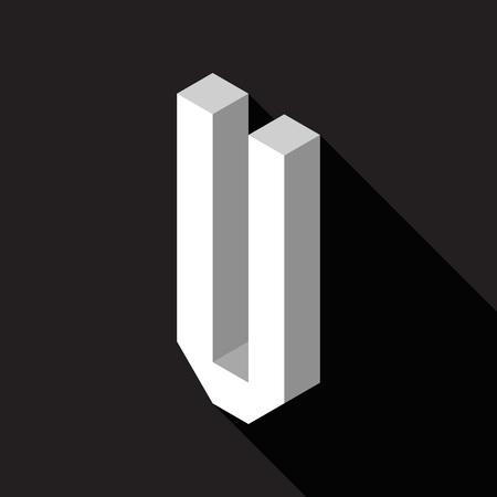 3d Letter U logo icon design template element. Vector illustration