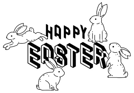 Happy Easter with cute bunny rabbits line art vector drawing, hand drawn minimalism style. Vector illustration.