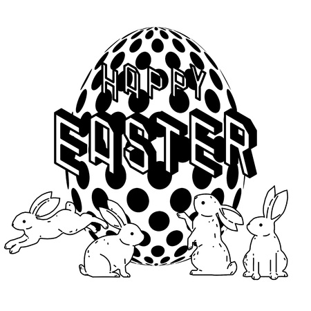Happy Easter with cute bunny and Easter egg vector drawing. Vector illustration.