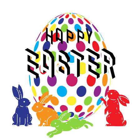 Colorful happy Easter with cute bunny and Easter egg vector drawing. Vector illustration.
