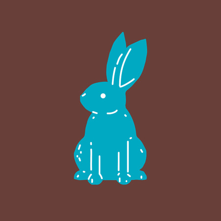 Cute bunny rabbit line art vector drawing, hand drawn minimalism style. Vector illustration.