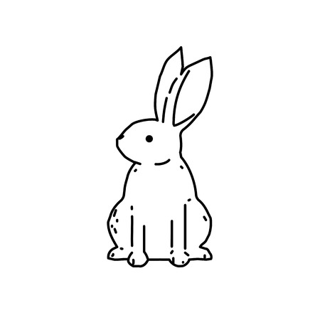Cute bunny rabbit line art vector drawing, hand drawn minimalism style.  Vector illustration Stock Illustratie