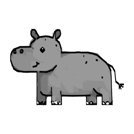 Line drawing of cute hippo cartoon, hand drawn vector illustration. Can be used for t-shirt print, kids wear fashion design, baby shower invitation card. Stock Illustratie