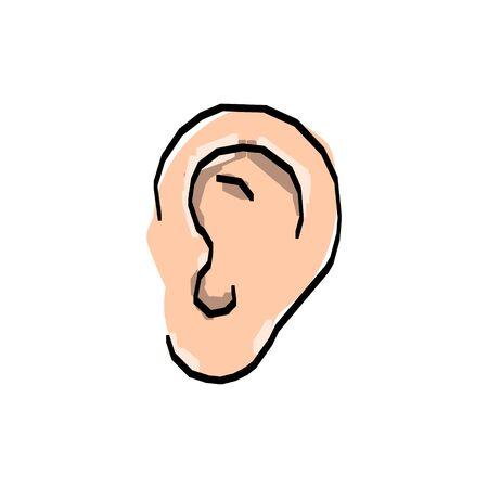 Hand Drawn Ear Sketch Symbol. Vector Listen Element Line drawing, Vector illustration.