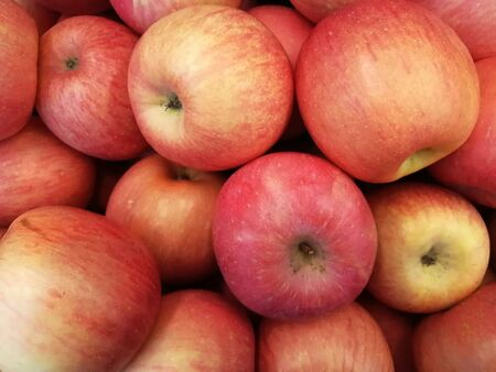 Fresh red apples as texture background at departmental store
