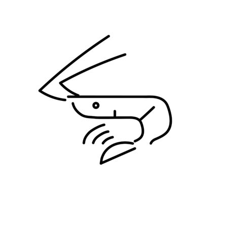 Shrimp logo icon isolated on white background. Prawns outline. Vector illustration
