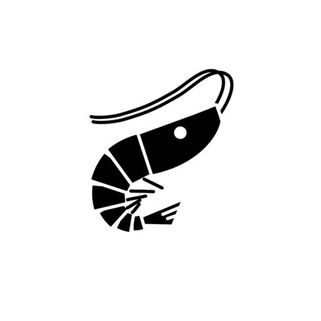 Shrimp silhouette icon isolated shrimp on white background, Vector Illustration. Illusztráció