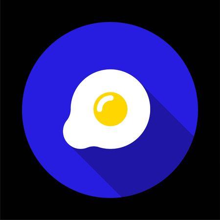 Fried egg icon isolated on blue background. Vector illustration Stock Illustratie
