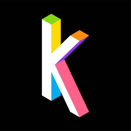 3d Colorful Letter K logo icon design template element. Vector illustration