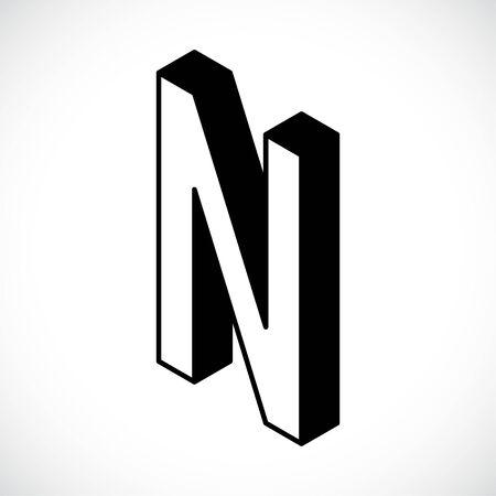 3d Letter N logo icon design template element. Vector illustration
