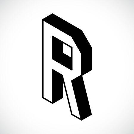3d Letter R logo icon design template element. Vector illustration