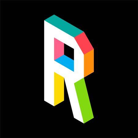 3d Colorful Letter R logo icon design template element. Vector illustration Illusztráció