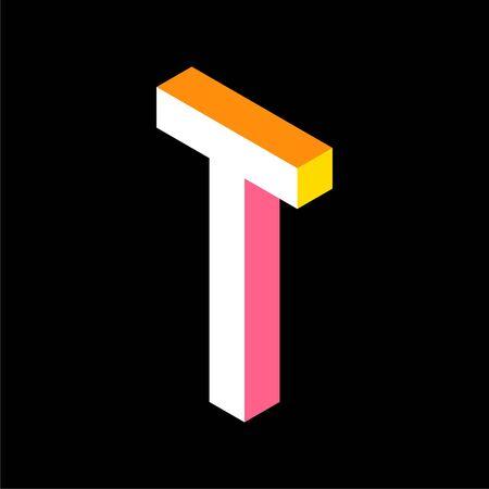 3d Colorful Letter T logo icon design template element. Vector illustration Illusztráció