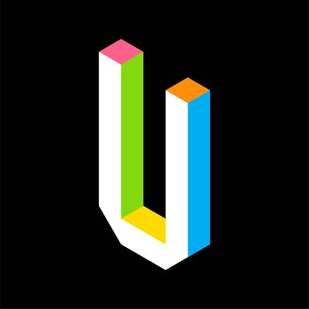 3d Colorful Letter U logo icon design template element. Vector illustration