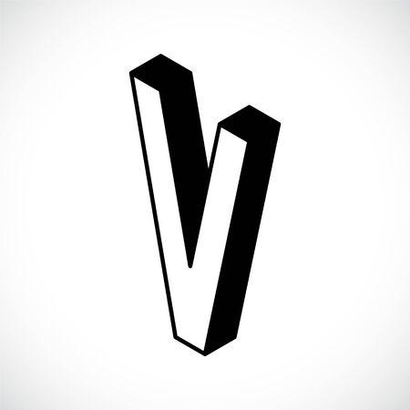 3d Letter V logo icon design template element. Vector illustration