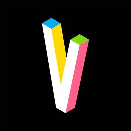 3d Colorful Letter V logo icon design template element. Vector illustration Illusztráció