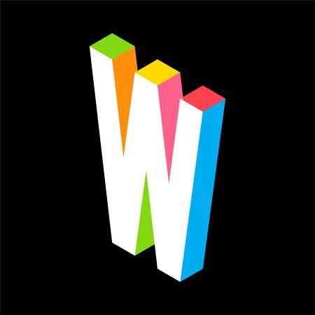 3d Colorful Letter W logo icon design template element. Vector illustration