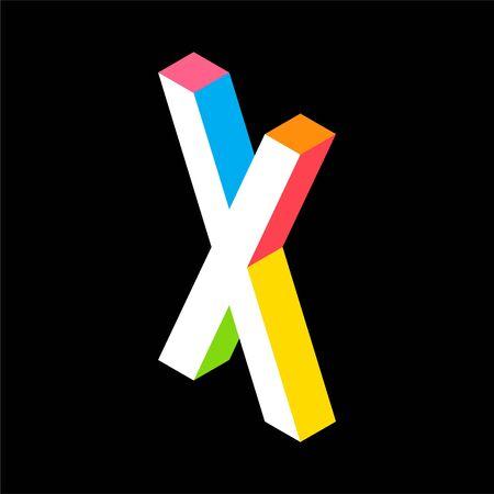 3d Colorful Letter X logo icon design template element. Vector illustration Illusztráció