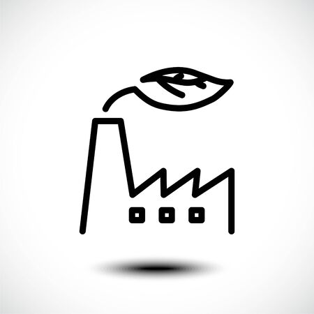Eco factory line icon. Industrial factory with leaf line icon for web and ui design. Eco friendly alternative energy concept. Vector illustration. Illusztráció