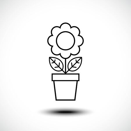Flower in pot line icon. Vector illustration. Illusztráció