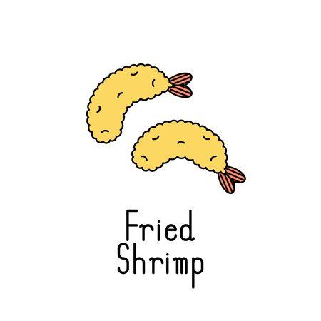 Fried shrimp icon. Vector illustration