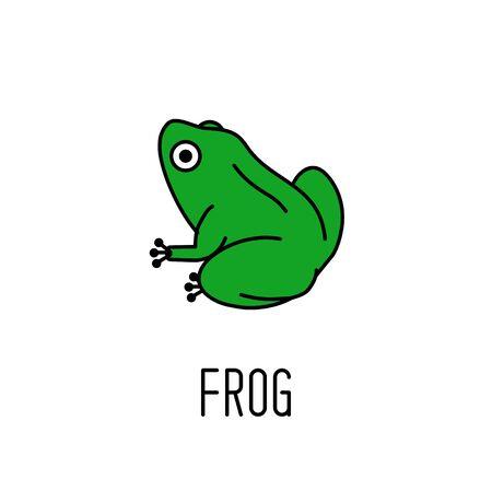 Green frog icon. Animal symbol. Vector illustration
