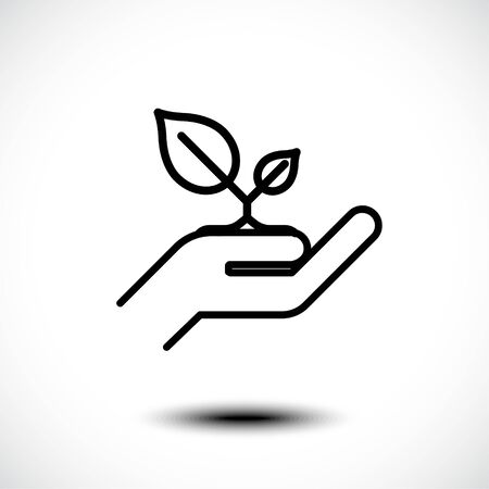 Leaf in hand, care nature line icon. Vector illustration