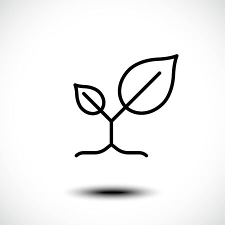 Leaves nature line icon. Vector illustration.