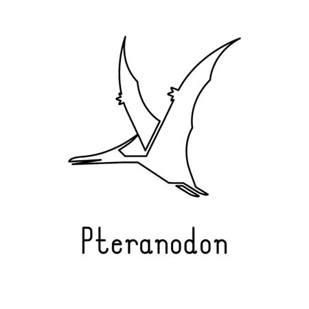 Simple line style icon of Pteranodon. Vector illustration.