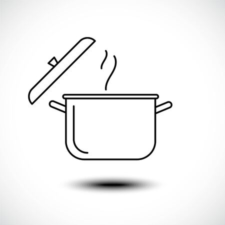 Stew pan line icon. Boil or stew food symbol. Vector illustration Illusztráció