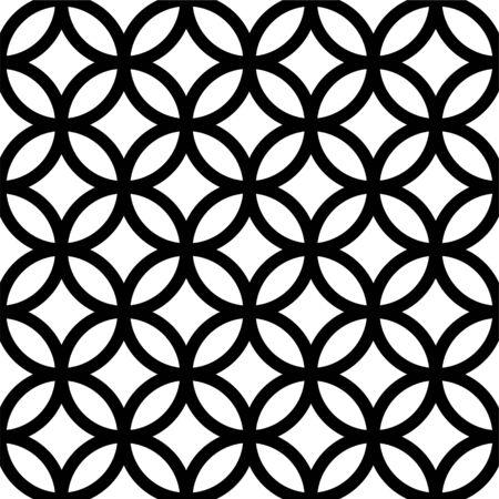 Interlocking, intersecting circles, rings. Repeatable seamless pattern. Vector illustration Vettoriali