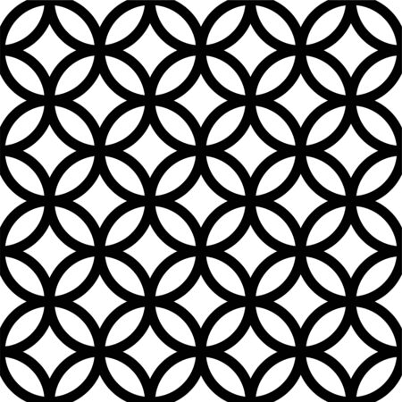 Interlocking, intersecting circles, rings. Repeatable seamless pattern. Vector illustration
