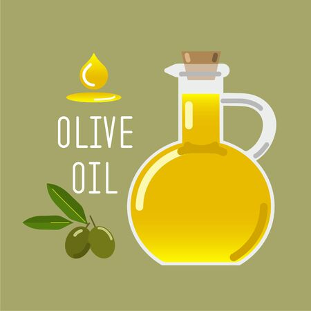 Olive oil in a glass bottle and green olives with leaves. Vector illustration