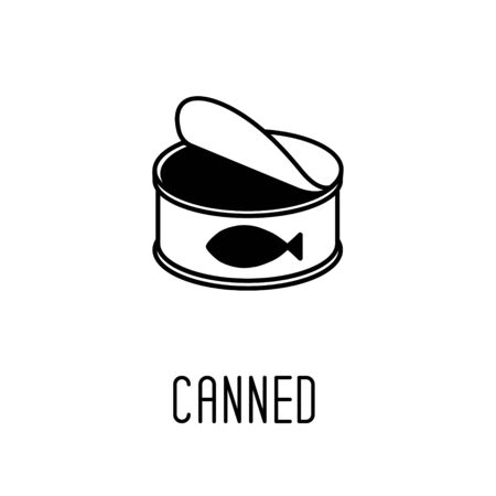 Line art black and white canned fish. Simple supply for domestic animal. Cat food vector illustration for icon, sticker, patch, label, badge, certificate or gift card decoration Vectores