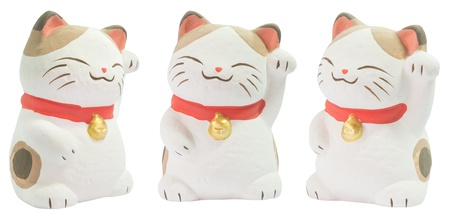 maneki: Isolated 3 angles of white ceramic japanese cat doll
