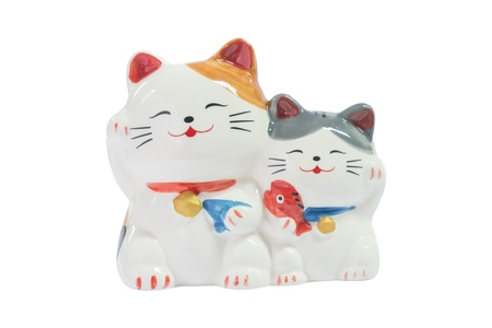 maneki: Isolated 2 cute shiny ceramic japanese cat dolls