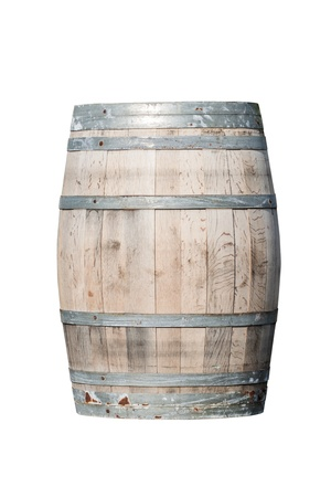 Wooden barrel with iron rings isolated on white background photo