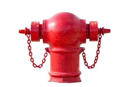 Retro red fire hydrant isolated on white background Standard-Bild