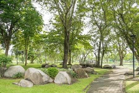 Stone garden in the morning at Suan Luang Rama 9 Public Park photo