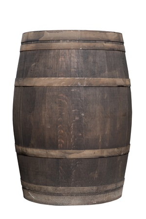 Wooden barrel with iron rings isolated on white background with clipping path