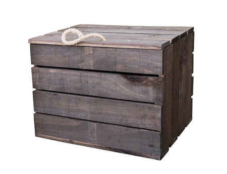 Old vintage wooden box crate isolated on white background with clipping path photo