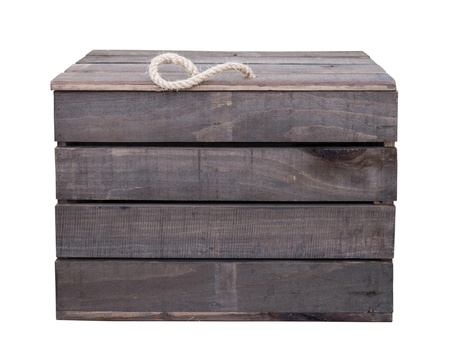 Old vintage wooden box crate isolated on white background